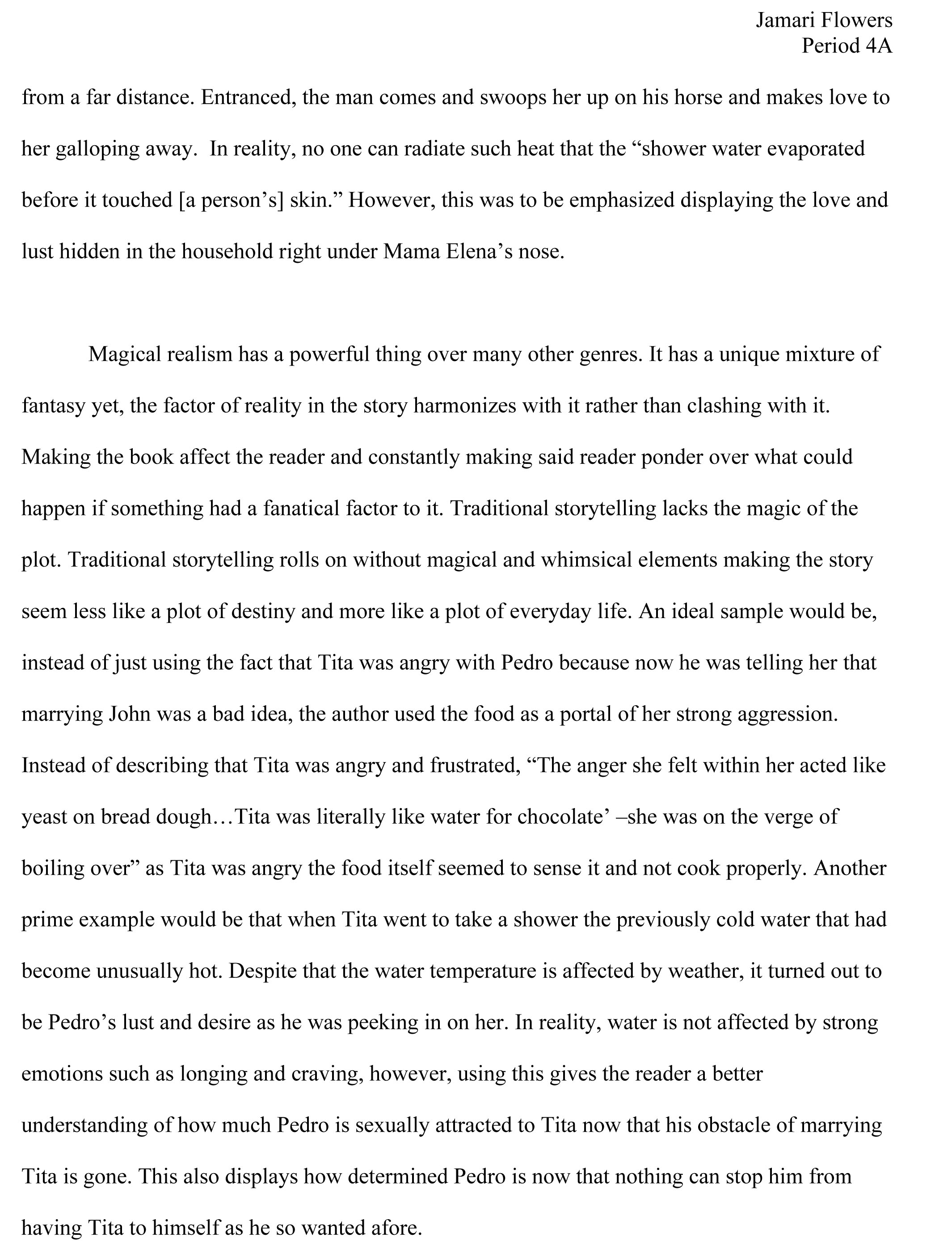 my essays my green life jamari flowers^ ^ magical realism page 2